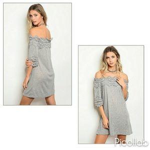 Heathered Grey Off-Shoulder Dress